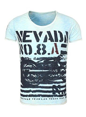 Key Largo Herren T-Shirt NEVADA Vintage Print Motorrad Motorcycle Racing Las Vegas blau M Vegas Shirt