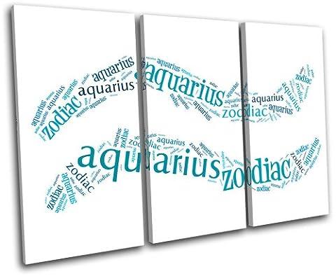 Bold Bloc Design - Aquarius Zodiac Starsign - 150x100cm Boîte de tirage d'Art toile encadrée photo Wall Hanging - à la main dans le UK - encadré et prêt à accrocher - Canvas Art Print