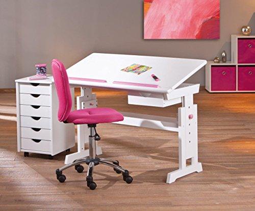 Kinderschreibtisch BARU mit Stuhl Mali pink und Rollcontainer SIMON
