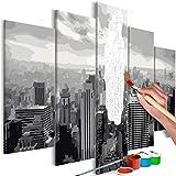 murando - Malen nach Zahlen New York 100x50 cm 5 TLG Malset mit Holzrahmen auf Leinwand für Erwachsene Kinder Gemälde Handgemalt Kit DIY Geschenk Dekoration n-A-0631-d-m