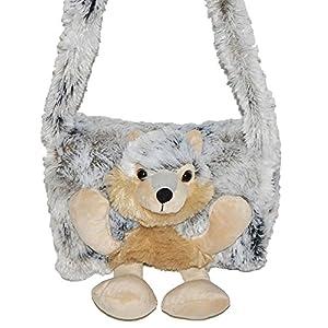alles-meine.de GmbH weicher Muff –  Hund Husky / Wolf  – mit extra Tasche – für warme Hände – Kinder Kindermuff – Tiere – zum Umhängen – für Mädchen und Jungen / wie Handschuh ..
