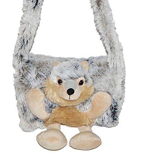 alles-meine.de GmbH weicher Muff -  Hund Husky / Wolf  - mit extra Tasche - für warme Hände - Kinder Kindermuff - Tiere - zum Umhängen - für Mädchen und Jungen / wie Handschuh ..