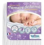 Yoopidoo - Matelas bébé 1 face Mémoire de forme - 60 x 120 x 12 cm - ergonomique -...