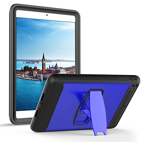 iPad Mini Fall, Daker iPad Mini 2 Fall, iPad Mini 3 Fall Full Body Schutz Regendicht Stoßfest Impact Resistent Anti Slip Cover mit zurück Ständer für Apple iPad Mini 1 2 3, Blau (Ipod Mini Case Mit Ständer)