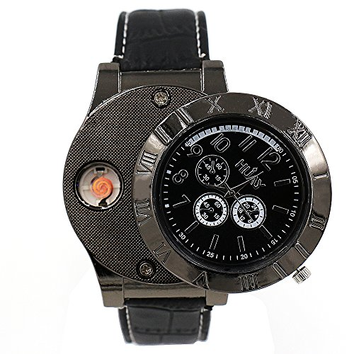 Runtenic Herrenuhren 2 in 1 Rechargeable Windproof Flameless Wrist Watch Cigarette Flame Lighter Watch (New Black)