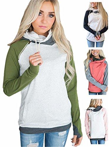 Femme Automne Hiver Chic Couleur Sweats à Capuche Sweater Manche Longue Sweatshirt Pullover Hoodie A Vert