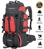 55L Cornice interna zaino da montagna Trekking Impermeabile Alpinismo Montagna Escursionismo Uomo Donna Zaino con Parapioggia (55L zaino da montagna Cornice interna, Rosso)