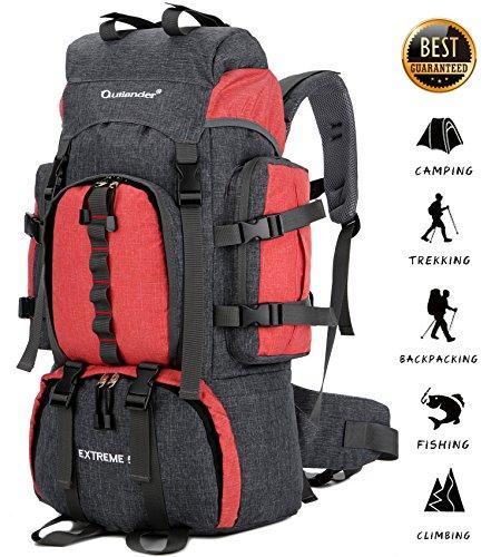 VEVESMUNDO Wanderrucksack Trekkingrucksack Wasserdichter Rucksack Damen Herren mit Regenschutzhülle für Camping Wandern Bergsteigen Reisen (55L, Rot)