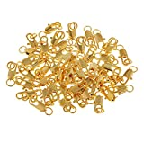 Fenteer 50x Karabinerhaken Schlüsselringe Metall Kleine Clips Abnehmbare Drehverschlüsse Schlüsselanhänger - Vergoldet