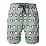 jiger Mens Beach Shorts Swim Trunks,Vintage Holiday Pattern with Penguins Funny Arctic Animals Xmas In North Pole,Summer Cool Quick Dry Board Shorts Bathing SuitXXL