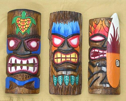 3-Tiki-Mscara-pared-30cm-IM-HAWAI-Estilo-Juego-de-3-Mscara-de-madera-Mscara-ISLA-DE-PASCUA-sdsee-Karibik