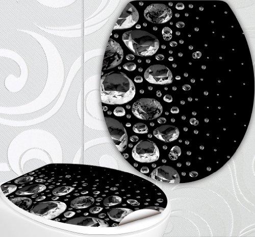 StickerProfis WC Sitz Aufkleber DIAMONDS Design Folie Dekor für Toilettendeckel Klodeckel incl. 2 Fliesenaufkleber