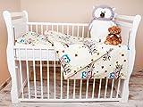 Amilian® Bettwäsche Baby Bettset Eule Ecru/Blau Groß Größe 100x135 cm (40x60 cm)