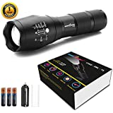 amiciVision Metal LED Torch Flashlight, XML T6 Water Resistance 5 Modes Adjustable Focus with 3 AAA Duracell Battery (Emergency Light, Black)