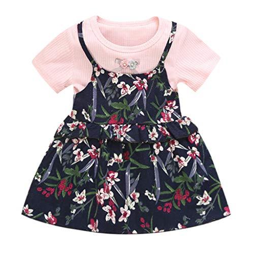Hokoaidel Mädchen T-Shirt Kleid Set Sommer Chiffon Print Kleid Kinder Baby Prinzessin Print Party Abend Kleider Cocktailkleid Sommer Strandkleider