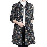 i-uend 2019 Damen Mantel - Vintage Blumendruck Fell Kapuze Oversize Mäntel Jacke Taschen Outwear Parka mit Kapuze winterparka Zipped Jacket