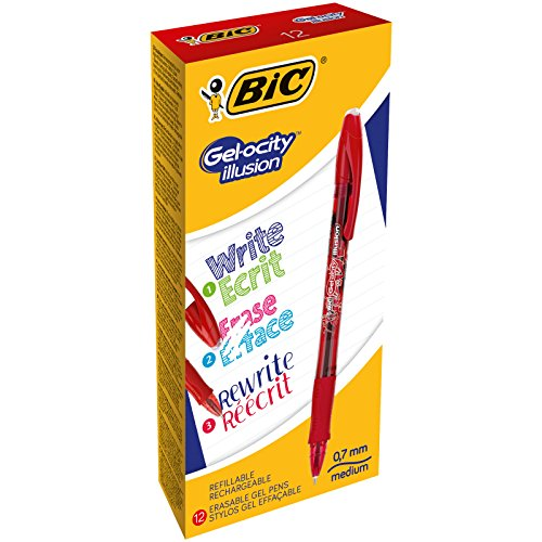 BIC Gelocity Illusion - Caja de 12 bolígrafos gel borrable, color rojo