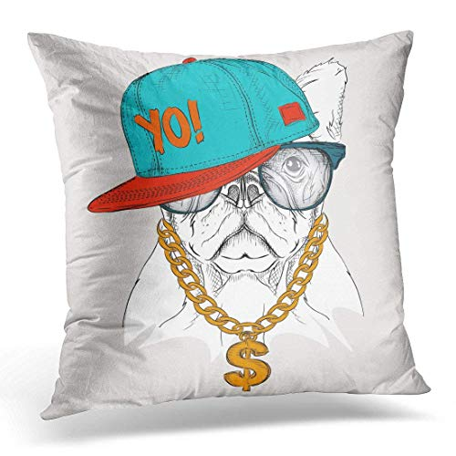 No Soy Como Tu Fundas para Almohada Rap The with Dog Portrait in Hip Hop Hat Animal Decorative Pillow Case Home Decor Square 18x18 Inches Pillowcase