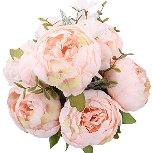 StarLifey Fake Pfingstrosen Vintage Künstliche Pfingstrose Seidenblume Blumenstrauß Künstlich Groß Hause Hochzeit Party Deko Pure Pink