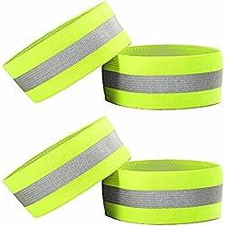 4 pulseras reflectantes de alta visibilidad; tobilleras, brazaletes, y pulseras, equipo de seguridad para correr, andar en bicicleta, pasear a perros, o actividades nocturnas o muy tempranas