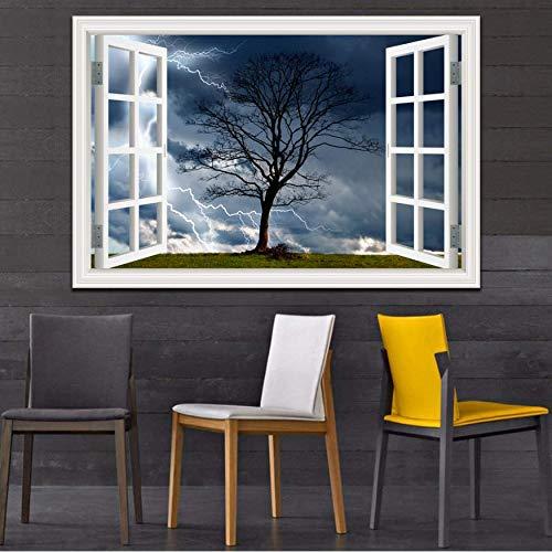 Wandaufkleber 3D Fenster Landschaft Tapete Natur Landschaft Beleuchtung Dunkle Wolken Kunst Moderne Pvc Wohnkultur 40X60 cm E - Moderne Landschaft Beleuchtung