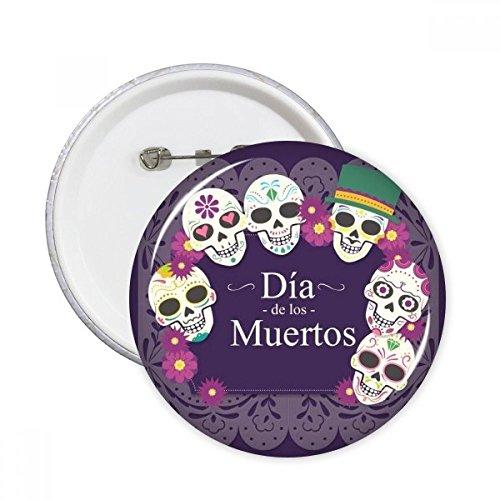 Totenkopf Hat Flower Mexiko Happy der Tag der Toten Illustration rund Pins Badge Button Kleidung Dekoration Geschenk 5X xl