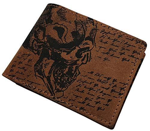 Echt Büffel-Vollleder Geldbörse in Hoch- oder Querformat mit Totenkopf-Motiv in Schwarz oder Cognac (Modell 2 / Querformat / Cognac)