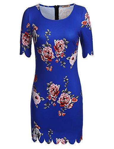 Acevog Damen Blumen Druck Zack Kleid Rundhals Elegant Partykleid Busniess knielang Minikeid Cocktailkleid mit Falten Blau Weiß