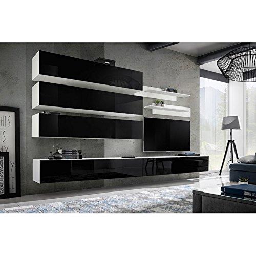 Paris Prix - Meuble TV Mural Design Fly IX 320cm Noir & Blanc