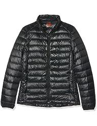 HUKOER Chaqueta de pluma de Invierno plumón para mujer Compresible Ligero Acolchada terciopelo de pato abrigo chaqueta abajo (Negro, L)