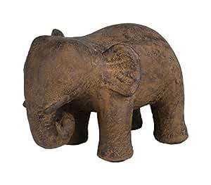 Amaris Elements Türstopper 'Elise' Beton Elefant, Grau Braun, Massiv ca. 14 kg, Dekofigur für Drinnen und Draußen, 20x30xH22 cm