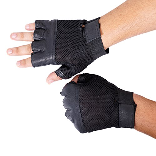 Dee Mannequin Leather Gym & Fitness Gloves (Free Size,Black)