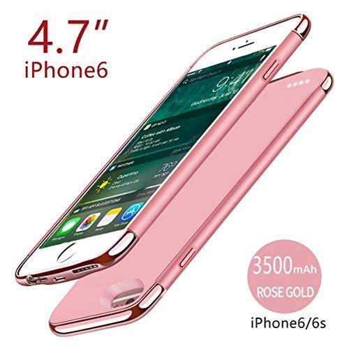 BasicStock iPhone 6 6s Akku Hülle, Ersatz Akkucase Externe Batterie Akkuhülle Backup Powerbank Schutzhülle Ladegerät Battery Case für iPhone 6 6s (Rose Gold)
