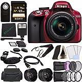 Nikon D3300 DSLR Camera with 18-55mm AF-P DX Lens (Red) + Sony 128GB