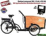 Plezier E Elektro-Transportfahrrad/lastenrad 7 Gang schwarz-braun mit hydraulischen Scheibenbremsen vorne