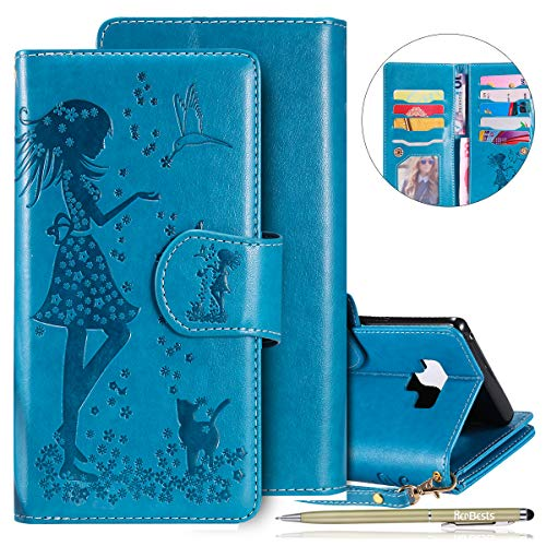 Herbests Kompatibel mit Samsung Galaxy Note 9 Handy Hülle Multifunktionale Handy Tasche Mädchen Katze 3D Retro Muster Leder Handy Schutzhülle 9 Kartenfächer Flip Case Cover Klapphülle,Blau