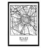 Nacnic Drucken Stadtplan Mailand skandinavischen Stil in