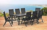 Kettler Basel 1–Tavolo allungabile 139/199cm e 8Sedie Pieghevoli Mobili da giardino in antracite