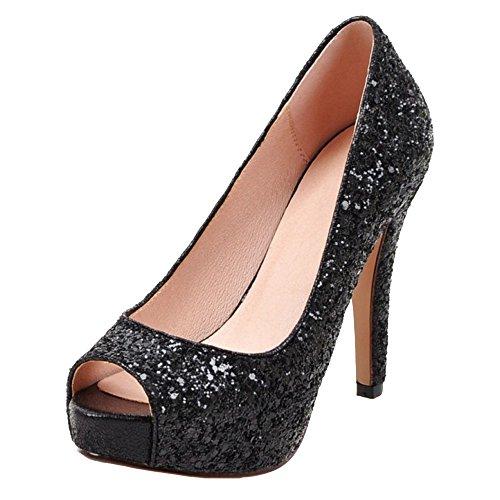COOLCEPT Femmes Mode Slip On Talon Aiguille Escarpins Peep Toe Chaussures Noir