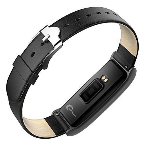 Fitness Tracker [Elegantes Lederarmband], CHEREEKI Herzfrequenzmonitor Smart Armband Fitness Armbanduhr mit Aktivitätstracker / Schrittzähler / Schlafüberwachung / Push Anruf-Benachrichtigung - Bild 7