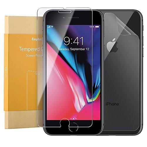 iPhone 8 Schutzfolie Vorne und Hinten, EasyAcc Front 9H gehärtetes Glas und PET HD Back Folie, Voller Kratzschutz Anti Shock Schutzfolie Für iPhone 8/ iPhone 7 Diamantschwarz2 (Front Shock Support)