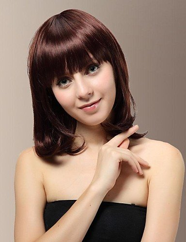 Design superbe moyen sans capuchon bouclés perruque Sweet Mesdames Fashion Frange Perruque Cheveux complet