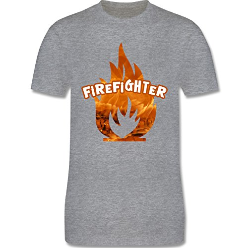 Feuerwehr - Feuer Flammen Firefighter - Herren Premium T-Shirt Grau Meliert