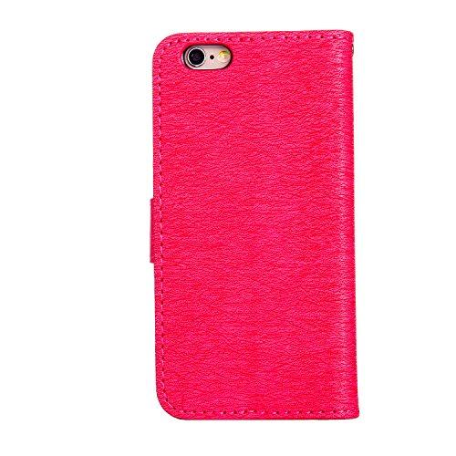 KaseHom iPhone 6/6S 4.7 Pollice Custodia in pelle Portafoglio Ragazza di Fairy Angel Carina GattoFarfallaFiore Modello ProgettareBlingLuccichio Sparkle Diamante (Con Gratuito Penna di Tocco) Stile Rosso