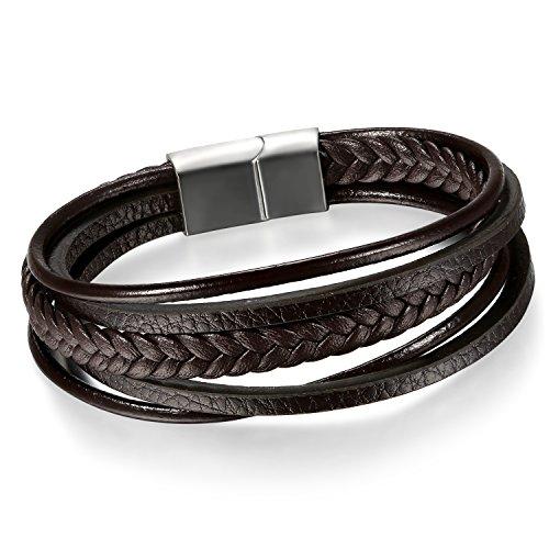 Pulsera de cuero vintage de Cupimatch para hombre, con cordel trenzado y hebilla de acero inoxidable, estilo Punk Rock Gótico, color negro y plata