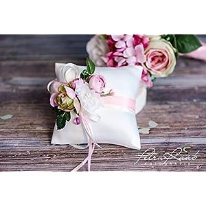 Ringkissen Wedding Pillow Hochzeit Ringe ivory rosa Bluete Pfingstrosen Braut Dekoration AK8