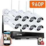 ZOSI 8CH Wireless CCTV System  1TB Hard Drive, 960P Wireless Security Camera System Network NVR Recorder w/ (8) 1.30 Megapixels Outdoor Surveillance