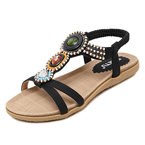 Minetom Damen Sommer Sandalen Mädchen Böhmische Stil Flache Schuhe Stras Knöchelriemen Geflochtene Flats Strand Schwarz