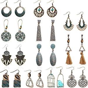 12 Paar Vintage Ohrringe Türkis Ohrringe Böhmische Ohrringe Vintage Baumeln Ohrringe Geometrische Baumeln Anhänger Ohrringe für Damen Mädchen