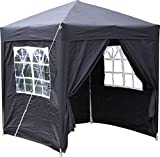 Airwave 2.0x2.0mtr Black Pop Up Gazebo, Fully Waterproof with Four Side Panels and Carrybag